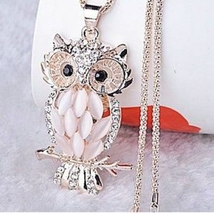 Jewelry - Nwt Opal Stones Owl Pendant With Necklace